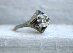 Distinctive Vintage 18K White Gold Diamond and Sapphire Engagement Ring.
