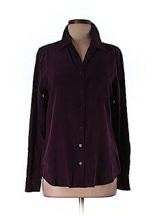 Equipment Women Long Sleeve Silk Top Size M