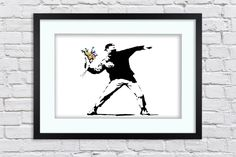 Banksy - Flower Thrower - Flower Chucker Hooligan - Large Mounted & Framed Poster Art Print A2 - 31 x 24 Inches ( 75 x 61 cm ) by TheRedbusGallery on Etsy https://www.etsy.com/uk/listing/274772524/banksy-flower-thrower-flower-chucker
