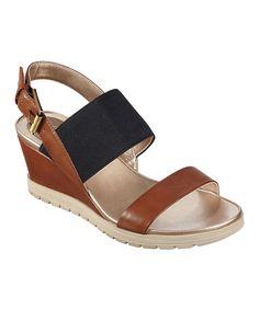 Look what I found on #zulily! Natural & Black Hagano Wedge Sandal by Easy Spirit #zulilyfinds