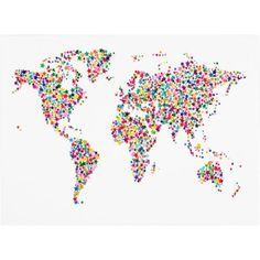 Trademark Art 'Stars World Map' Canvas Art by Michael Tompsett, Size: 14 x 19, Multicolor