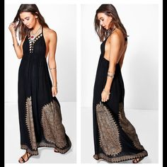 "NWT Boho Backless Black Maxi Dress Petite Petite . Unlined. 100% Viscose. Size 2 : Waist has elastic 24"" , length from back elastic to hem 40"".  Size 8 : waist with elastic 26"" , length from back elastic to hem 41.5"". Dresses Maxi"