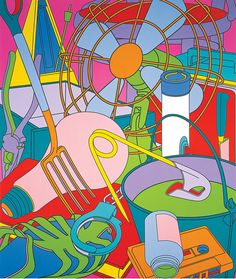 Eye of the Storm by Michael Craig-Martin, An abstract piece showing enlarged everyday objects painted in pop colours Most Expensive Painting, James Rosenquist, Michael Craig, Modern Art, Contemporary Art, Eye Of The Storm, Summer Books, Claes Oldenburg, Jasper Johns