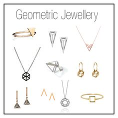 """GEOMETRIC JEWELLERY"" by wolfandbadger ❤ liked on Polyvore featuring Rachel Jackson, Mminimal, Myia Bonner, Stephanie Bates, Rachel Entwistle, Dutch Basics, Jezebel London and Love Is"