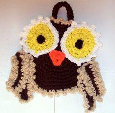 CrochetOwl Potholder Hotpad Home Decor Kitchen Potholder by SandeesKreations on Etsy