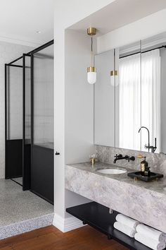 Contemporary bathroom with two levels