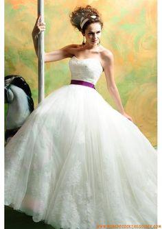 Robe blanche princesse 2013 avec traîne ceinture robe de mariée organza