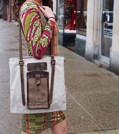Get our new Carter tote made from canvas and up cycled leather!