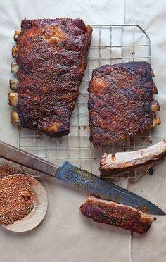 """Memphis-Style Dry Ribs Recipes - Charles Vergos, the late proprietor of the beloved Memphis restaurant Rendezvous, invented this style of ribs served """"dry,"""" with no sauce. Rib Recipes, Grilling Recipes, Cooking Recipes, Smoker Recipes, Barbecue Recipes, Cooking Tips, Barbecue Sauce, Dry Rub Recipes, Recipies"""