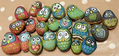 Owl pebbles- I want to make these into magnets!