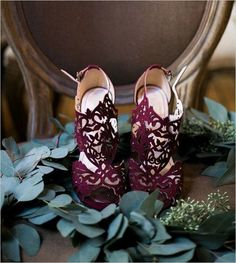 purple laser cut wedding shoes