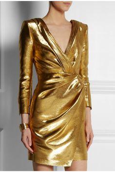 Saint Laurent|Ruched lamé mini dress| Gold