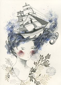 Waiting for the Tide  Print by myfolklover on Etsy. , via Etsy.