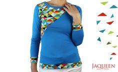 Longsleeves - Longsleeve blau Dreiecke - ein Designerstück von JAQUEEN-handmade-streetwear-berlin bei DaWanda