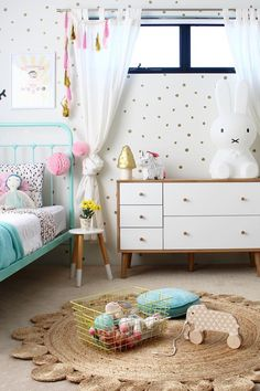 Inspiration from Instagram - @fourcheekymonkeys - girls room ideas, pink, mint and white girls room disign, kidsroom decor, girls kidsroom