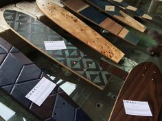 Skateboards made from wood veneer and from copper sheets (that have been taped off and exposed to different weathering methods to create a contrasting pattern) by Chaki Japan (http://www.chaki-japan.com/#!products/c1hd9)