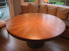 "Sunburst 60"" Round Quarter Sawn Oak Custom Dining Table"
