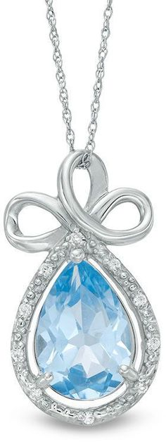 Zales Pear-Shaped Lab-Created Blue Topaz and 1/20 CT. T.W. Diamond Frame Triple Loop Ribbon Pendant in 10K White Gold