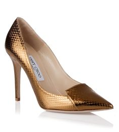 <strong>Jimmy Choo</strong> Avril gold watersnake pump