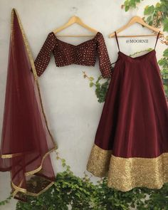 Perfect budget friendly maroon gold full flare lehenga with off shoulder lehenga blouse. Wear it for cocktail/reception party. Half Saree Designs, Lehenga Designs, Indian Bridal Outfits, Indian Designer Outfits, Indian Lehenga, Lehenga Choli, Lehenga Blouse, Anarkali, Designer Lehnga Choli