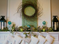 Ideas to decorate your fireplace mantle for the holidays :)