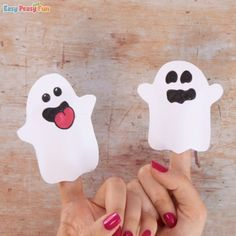 Ghost Paper Finger Puppet Craft Halloween Crafts For Kids To Make, Pink Halloween, Easy Crafts For Kids, Diy Halloween Decorations, Halloween Ideas, Puppet Tutorial, Paper Bag Puppets, Puppet Crafts, Toddler Learning Activities