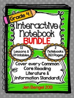 Notebooks are available for grades 2-5.  Cover ALL grade 4 Reading Informational and Reading Literature Common Core State Standards with this bundle! ($)