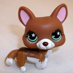 Littlest Pet Shop CORGI Dog Brown #897 LPS Figure HASBRO 2007 Green eyes star