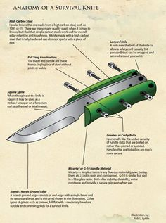 This illustration shows the features a good survival knife should include. Do you agree? What features do you look for in a survival knife? Survival Knife, Survival Tips, Survival Skills, Survival Weapons, Survival Stuff, Bushcraft, Knives And Tools, Knives And Swords, Blacksmithing Knives