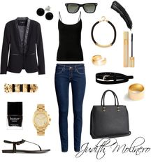 Black and gold by judith-molinero-fashion on Polyvore featuring H&M, J.Crew, Alexander McQueen, Michael Kors, Dutch Basics, Bridge Jewelry, River Island, Ray-Ban, Swell and Yves Saint Laurent