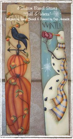 4 Season Barrel Staves Fall & Winter E-Pattern Design Inspiration by Terrye French and painted by Deb Antonick; E-Pattern includes: color photo, supply list, tracing pattern, and painting instructions. All parts sold separately. Surface 2 x Snowman Crafts, Fall Crafts, Halloween Crafts, Holiday Crafts, Arts And Crafts, Diy Crafts, Snowman Wreath, Christmas Wood, Christmas Signs