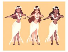 "mayonose: ""It's Aloha Friday! If you'll be at WonderCon this weekend, sunmeejoh and I will be tabling at come visit us! These hula wahine will be available as a postcard set and print :) "" Hawaiian Girls, Hawaiian Dancers, Hawaiian Art, Hawaiian Muumuu, Girl Cartoon, Cartoon Art, Character Art, Character Design, Polynesian Dance"