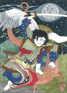 Archangel Michael slaying the dragon, Japanese style!