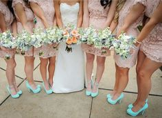 Bridesmaids peach  dress tiffany blue shoes