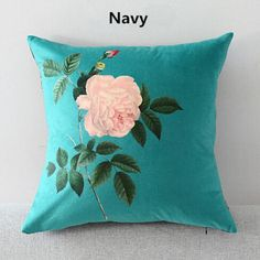 Flower pillow Hand drawn style couch cushions for home 18 inch