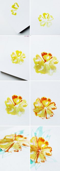 yellow watercolor flower