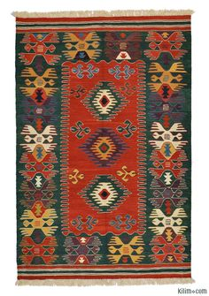 New Turkish Kilim Rug hand-woven in Turkey with vegetable-dyed and hand-spun wool. The fringes can be removed upon request. If you like the design of this rug, we can custom make it to meet your color and size requirements.