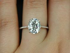 Blake 14kt White Gold Oval FB Moissanite and Diamonds by RosadosBox