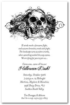 The+Grunge+Skull+Halloween+Party+Invitations+feature+a+detailed...