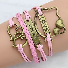 Cat Love Dream Hearts Pink Rope Charm Bracelet Style 96 by ATHiNGZ, $3.99