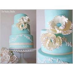 ❁❚❘❙ Tiffany Blue & Cream Vintage Wedding Cake at The Shores Resort and Spa by The Pastry Studio . and this will be my cake Gorgeous Cakes, Pretty Cakes, Bolo Cake, Blue Cakes, Amazing Wedding Cakes, Cream Wedding, Fancy Cakes, Tiffany Blue, Cake Art
