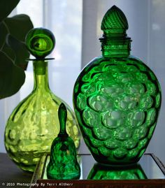 Green Decanters & Bell
