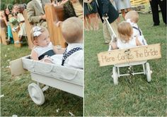 """a little wagon for the flower girl! I love the wooden sign, one side can say """"here comes the bride"""" and the other side can say """"just married"""" flip it after they say """"I do! Wedding 2015, Diy Wedding, Dream Wedding, Wagon For Wedding, Wedding Bells, Cute Wedding Ideas, Wedding Inspiration, Black And White Wedding Theme, Rings For Girls"""