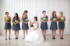 Mismatched Bridesmaid dresses: Same color, different styles