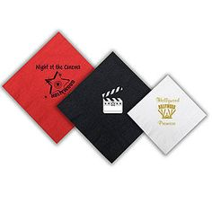 Custom cocktail napkins Our Hollywood Personalized Napkins will shine a light on your Hollywood themed party.