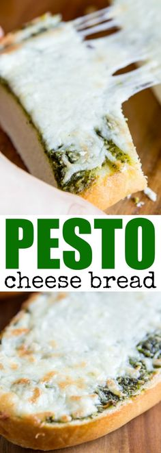 3-ingredient Pesto Cheese Bread makes a great snac…