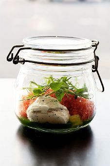 serving food from a mason jar....what can you not do with those little guys! one of the best invention to date.