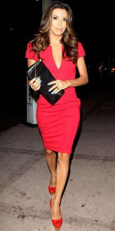 Longoria dined in a red hot Asos sheath, pumps to match and a leather clutch.