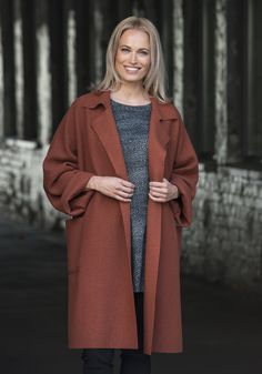Material: wool *Image is shown in Copper Wool Coat, Duster Coat, Fall Winter, Sweaters, Jackets, Clothes, Collection, Copper, Image
