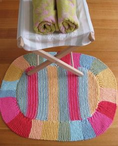 Lovely bath mat knitted in Blue Sky cotton.